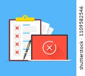 checklist and laptop with cross ... | Shutterstock .eps vector #1109582546
