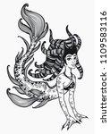hand drawn beautiful mermaid... | Shutterstock .eps vector #1109583116