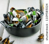 portuguese style mussels in... | Shutterstock . vector #1109585024
