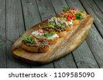 bruschetta set made of tomato ... | Shutterstock . vector #1109585090
