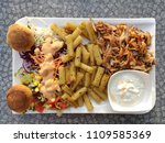 top view of chicken doner plate ...   Shutterstock . vector #1109585369