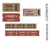 ticket vintage vector luggage... | Shutterstock .eps vector #1109589476