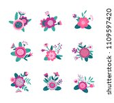 folk scandinavian flower... | Shutterstock .eps vector #1109597420
