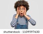 stunned african american female ... | Shutterstock . vector #1109597630