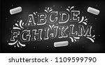 doodle font. chalk hand drawing ... | Shutterstock .eps vector #1109599790
