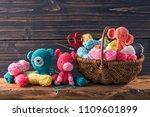 amigurumi toys on a wooden... | Shutterstock . vector #1109601899