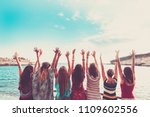 group of women enjoying and... | Shutterstock . vector #1109602556