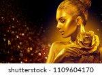 fashion art golden skin woman... | Shutterstock . vector #1109604170