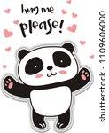 hug me please. cute panda... | Shutterstock .eps vector #1109606000