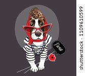 spaniel dog in a striped... | Shutterstock .eps vector #1109610599