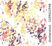 stripes of musical notes.... | Shutterstock .eps vector #1109612948