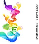 Abstract colorful background with wave and hearts, illustration - stock photo