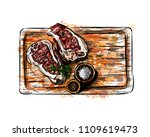 pieces of meat on a cutting...   Shutterstock .eps vector #1109619473