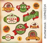 set 1 of vintage styled pizza... | Shutterstock .eps vector #110962214