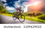 cyclist rides on bicycle  speed ... | Shutterstock . vector #1109629010