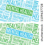 mental health words background | Shutterstock .eps vector #1109637728