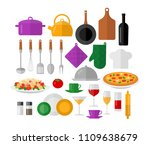 flat vector kitchen objects for ...   Shutterstock .eps vector #1109638679