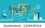office worker running... | Shutterstock .eps vector #1109639216