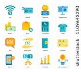 set of 16 icons such as hot air ...