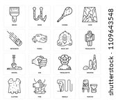 set of 16 icons such as mortar  ...