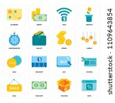 set of 16 icons such as date ...