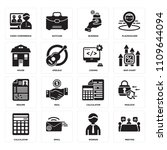 set of 16 icons such as meeting ...