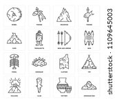 set of 16 icons such as... | Shutterstock .eps vector #1109645003