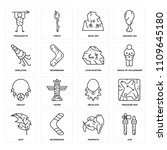 set of 16 icons such as axe ... | Shutterstock .eps vector #1109645180