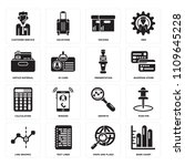 set of 16 icons such as bars...