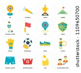 set of 16 icons such as player...