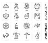 set of 16 icons such as noodles ...