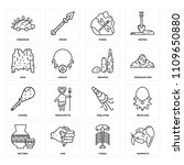 set of 16 icons such as mammoth ...