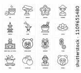 set of 16 icons such as panda ...
