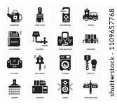 set of 16 icons such as maps...