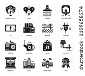 set of 16 icons such as title ...