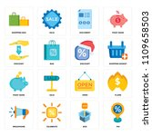 set of 16 icons such as pin ...