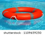 red lifebuoy pool ring float on ... | Shutterstock . vector #1109659250