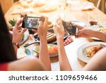 enjoy dinner eating party with... | Shutterstock . vector #1109659466
