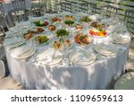 food on the festive wedding... | Shutterstock . vector #1109659613