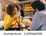 young couple having a breakfast ...   Shutterstock . vector #1109666540