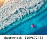 aerial view of woman swimming... | Shutterstock . vector #1109672456