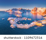 aerial view of reine and hamnoy ... | Shutterstock . vector #1109672516