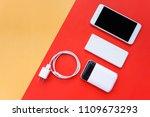 smartphone  power bank  and... | Shutterstock . vector #1109673293