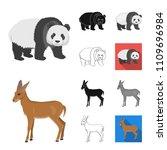 different animals cartoon black ... | Shutterstock .eps vector #1109696984