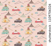 Stock vector camping car vector pattern background 1109706326