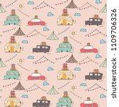 camping car vector pattern... | Shutterstock .eps vector #1109706326