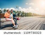 joyful sportswomen are chatting ... | Shutterstock . vector #1109730323