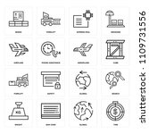 set of 16 icons such as time ...