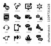 set of 16 icons such as story ...