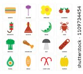 set of 16 icons such as pumpkin ... | Shutterstock .eps vector #1109734454